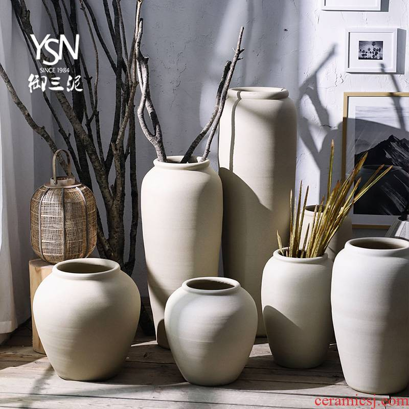 Royal three Nordic dried flower mud contracted modern earthenware coarse pottery flowerpot vase landing creative ceramic garden flower bed