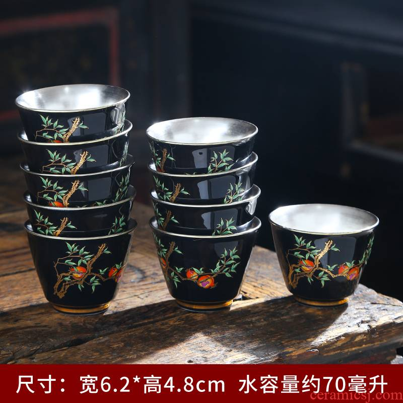 999 sterling silver cup silver cup ceramic masters cup silver colored enamel coppering. As bladder ceramic cup household sample tea cup
