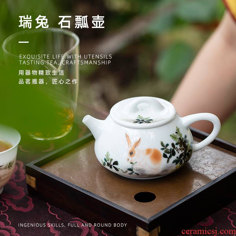 Mountain sound red rabbit stone gourd ladle pot of pure manual painting jingdezhen ceramic teapot kung fu tea set a single the teapot