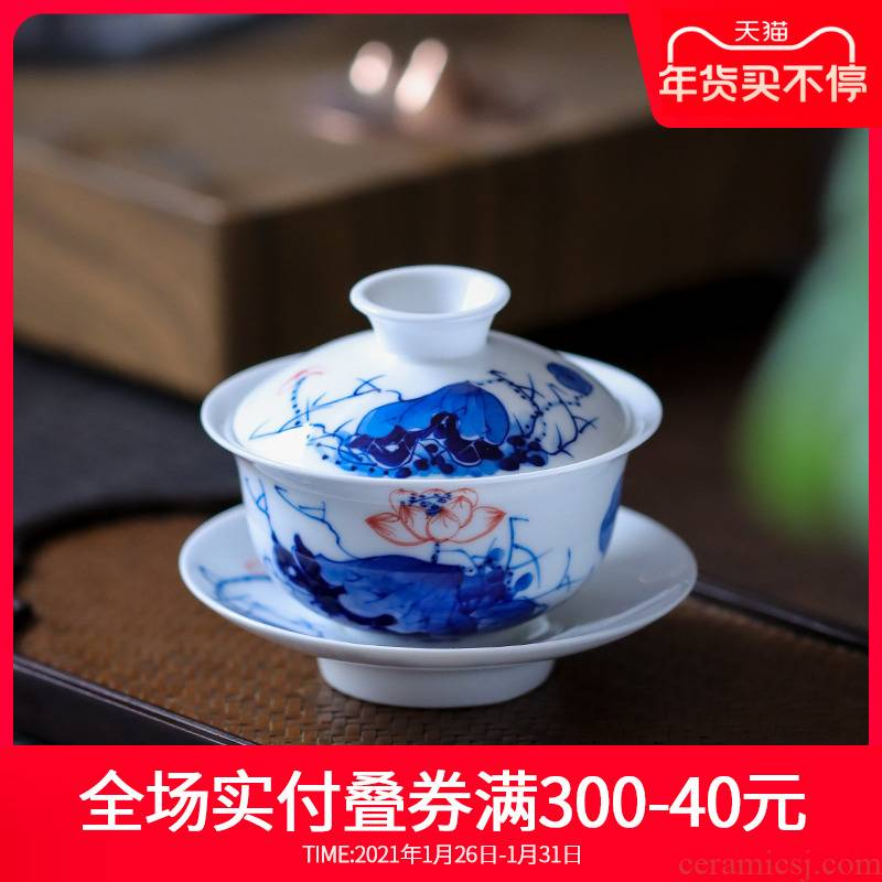 Girlfriend white porcelain tureen jingdezhen hand - made ceramic only three bowl of blue and white porcelain tea is not a single