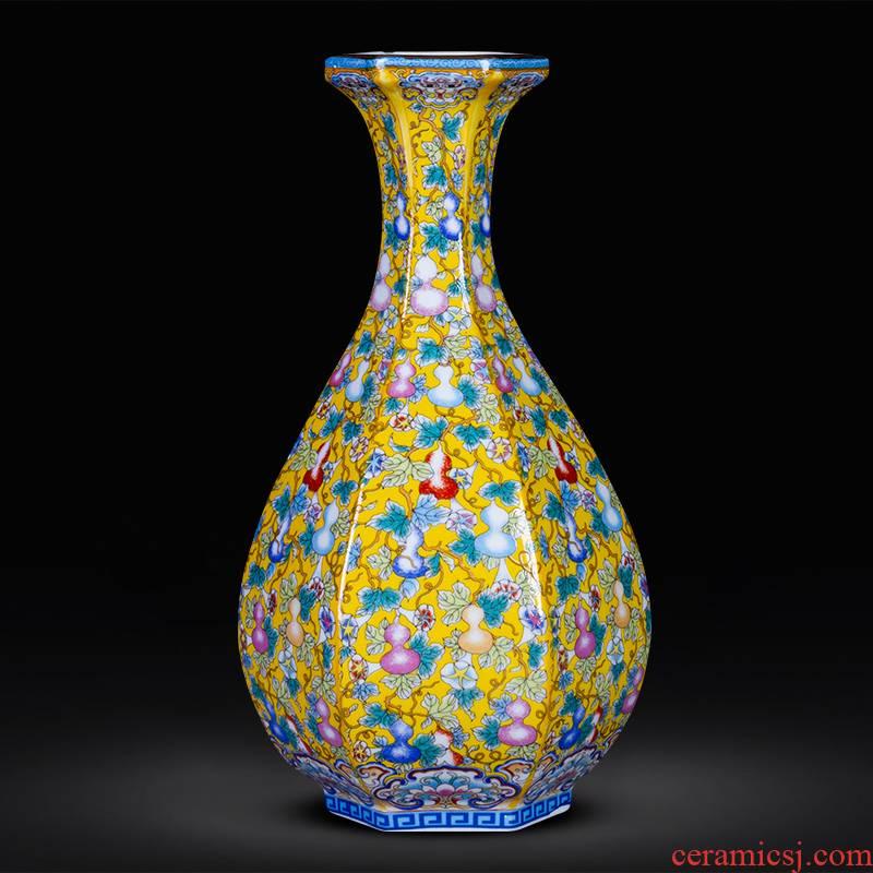 Jingdezhen ceramics imitation the qing yongzheng colored enamel vase furnishing articles porch decoration of Chinese style household restoring ancient ways