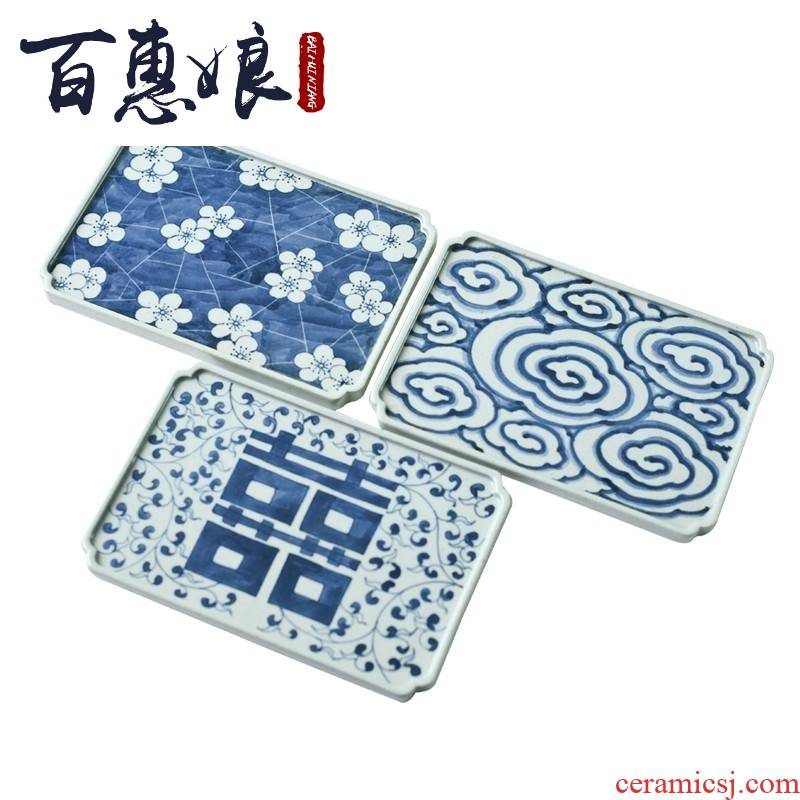 (blue and white antique ice shuang - xi mei niang Japanese hand - made coarse pottery xiangyun POTS, bearing holder, ceramic POTS dry tea inventory