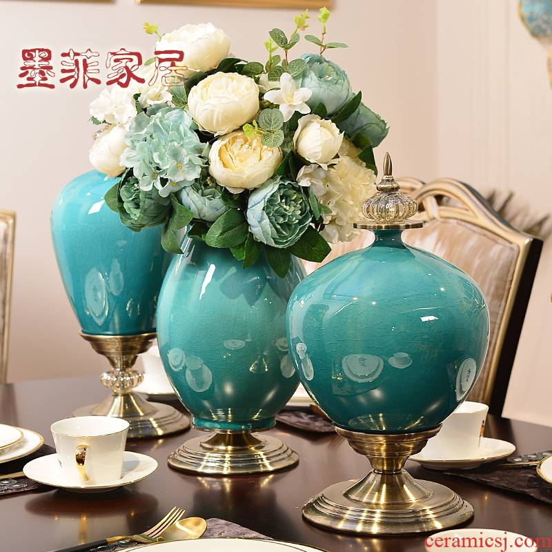 Light European - style key-2 luxury furnishing articles flower arranging ceramic vases, table, TV ark, household act the role ofing is tasted, the sitting room porch household decoration