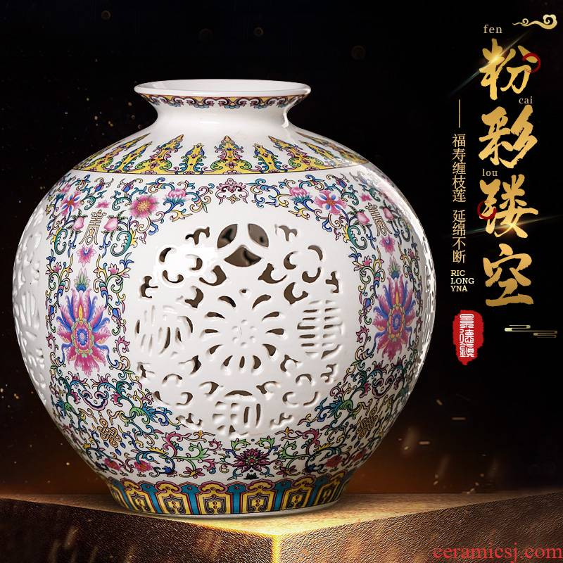 Jingdezhen ceramics powder enamel hollow - out the vase furnishing articles thin foetus pomegranate bottles of modern Chinese style living room home decor