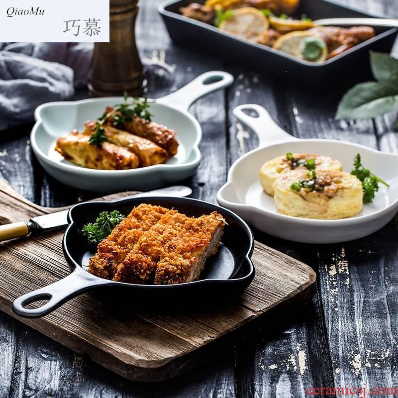 Qiam qiao mu for FanPan microwave ceramic pan rectangle creative plate oven barbecue pancakes