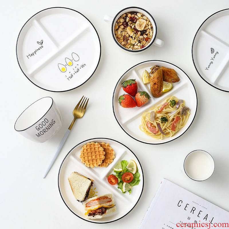 Feed one frame plates separated ceramic tableware children lose weight policy plate three separate plate household reduced fat