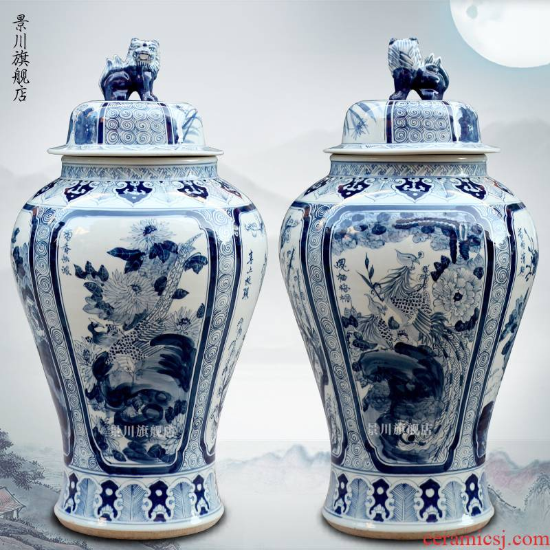 The general pot of jingdezhen porcelain pottery by patterns extra large antique vase, The sitting room of Chinese style household furnishing articles