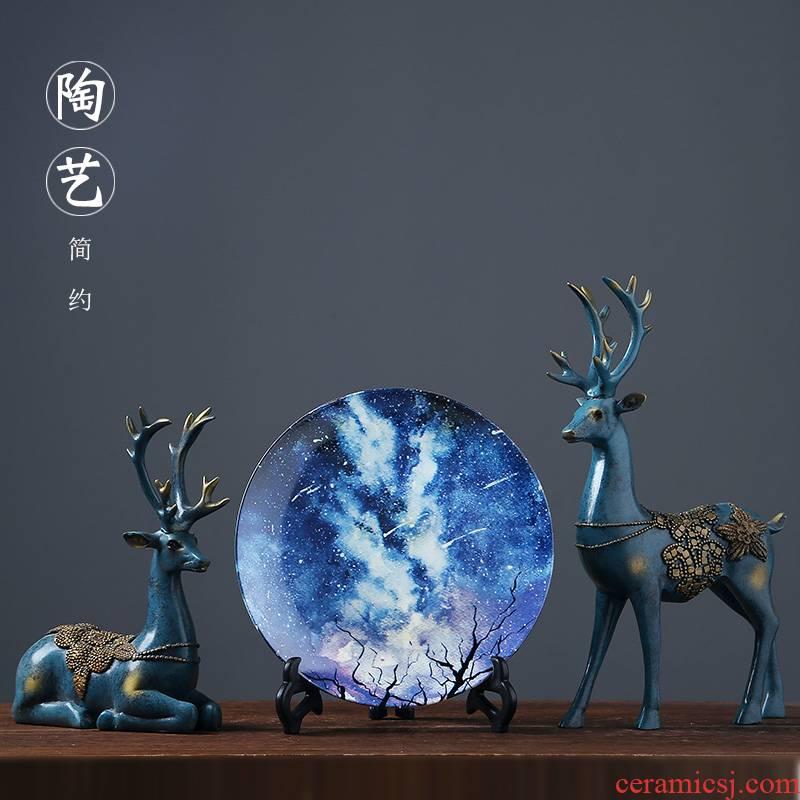 Jingdezhen porcelain of modern ceramics handicraft home sitting room porch swing dish dish decoration decoration plate