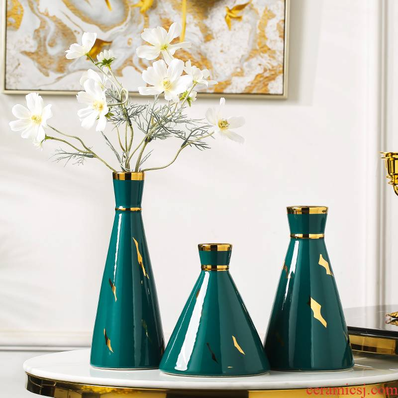 Modern Chinese style light key-2 luxury vases, ceramic blackish green, dry flower simulation flower decorations furnishing articles household table sitting room decoration