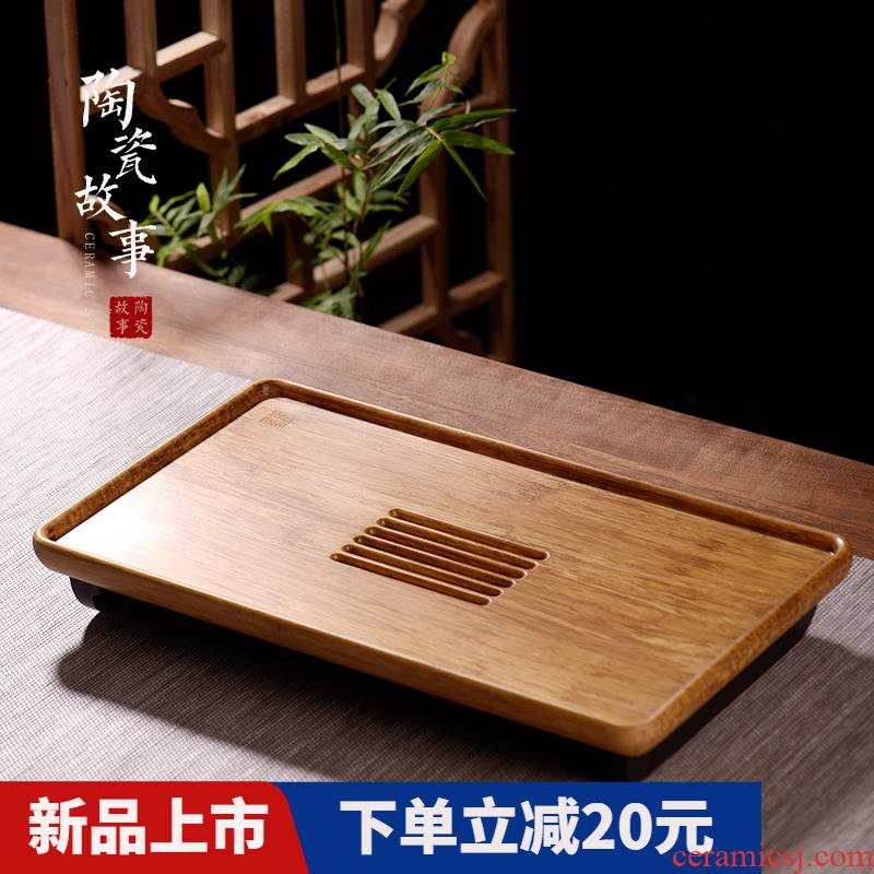 The Story of pottery and porcelain tea tray was contracted small tea table plate of household utensils suit real wood drop water drainage type saucer dish