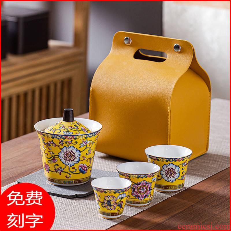 High - grade silver tureen tea sets travel ceramics single hot crack portable bag in a pot of three small sets
