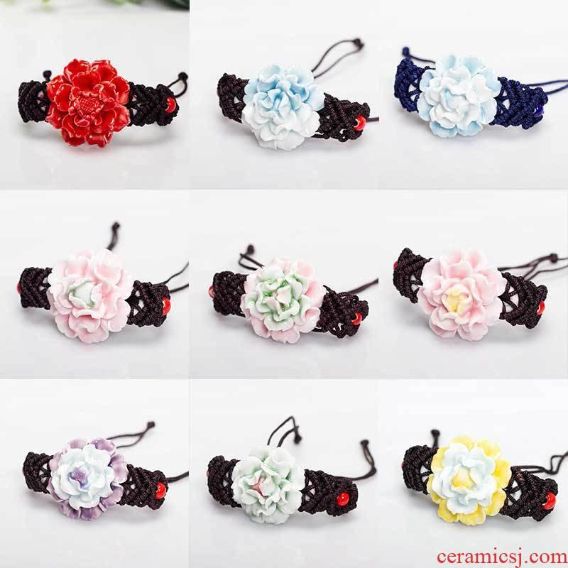 Jingdezhen ceramic arts and crafts wholesale pinch flower bracelet luoyang peony bracelets many bracelets