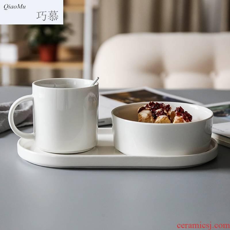 Qiao mu Japanese students ceramic tableware three meal plate job porridge breakfast milk cup oats cup