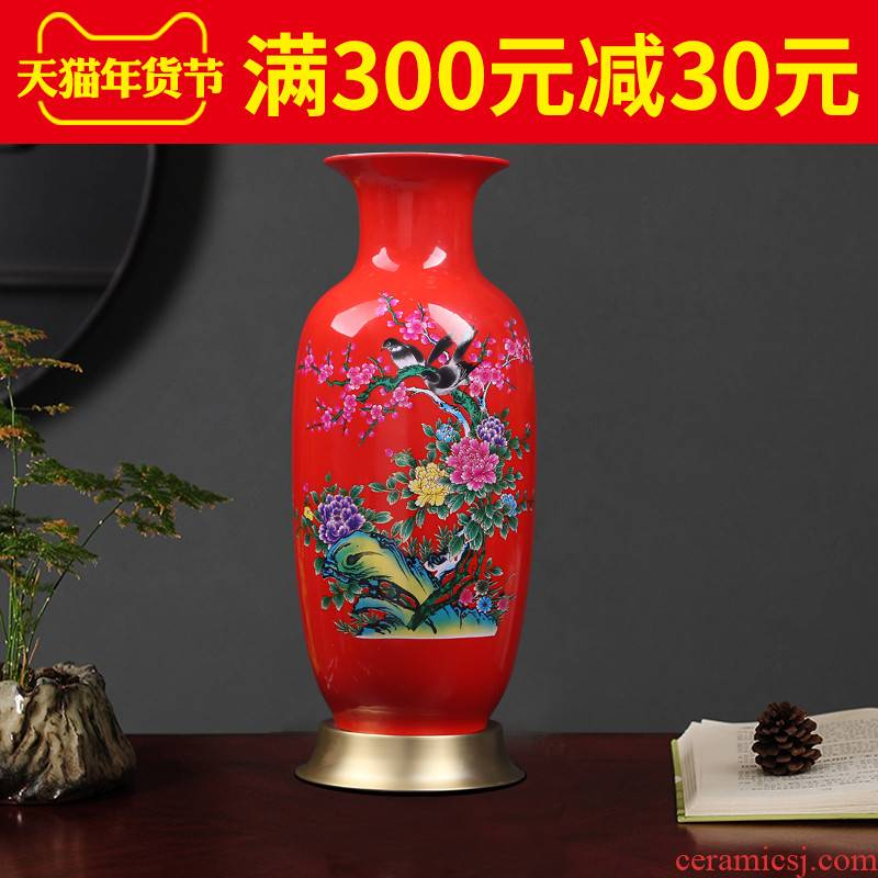 Jingdezhen ceramics new Chinese style household decorations red idea gourd vases, I and contracted sitting room porch decoration