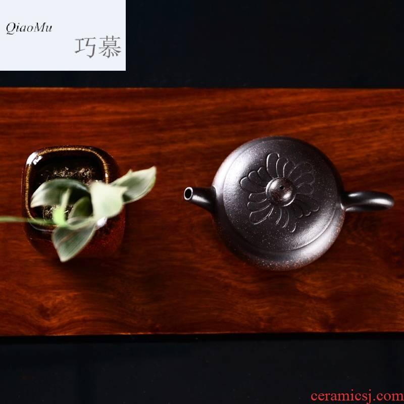 Qiao mu, yixing it pure manual black gold sand sketch kung fu teapot tea set