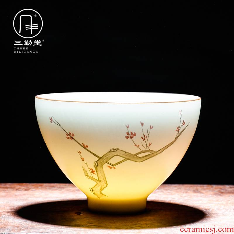 The three frequently kung fu tea cup sample tea cup jingdezhen ceramic celadon pastel by patterns suits for S42051