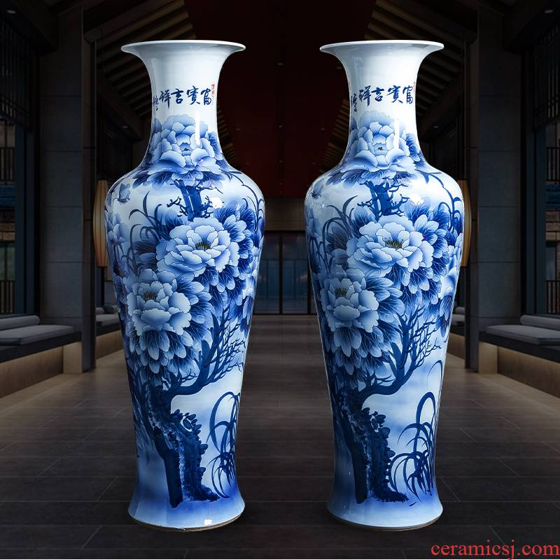 Jingdezhen ceramics hand - made oversized landing of blue and white porcelain vase furnishing articles of Chinese style household decoration to the hotel villa