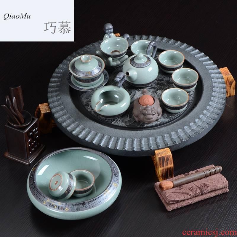 Qiao mu kung fu tea set a complete set of purple sand teapot on elder brother up sample tea cup sharply stone tea tray