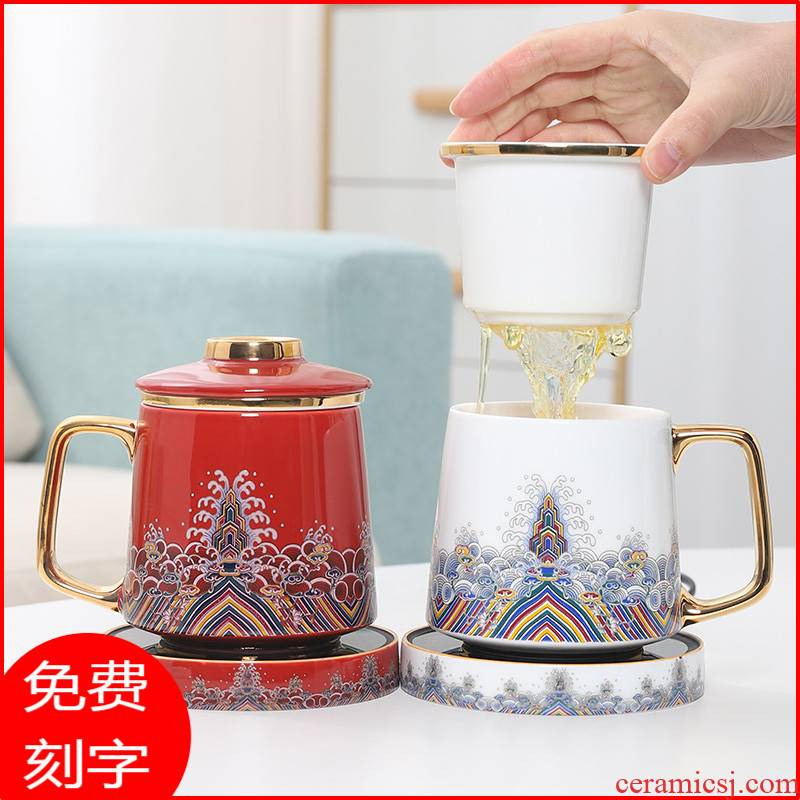 Jingdezhen ceramic cups thermostatic cup mat heating glass tea cup tea separation filter water cup of office