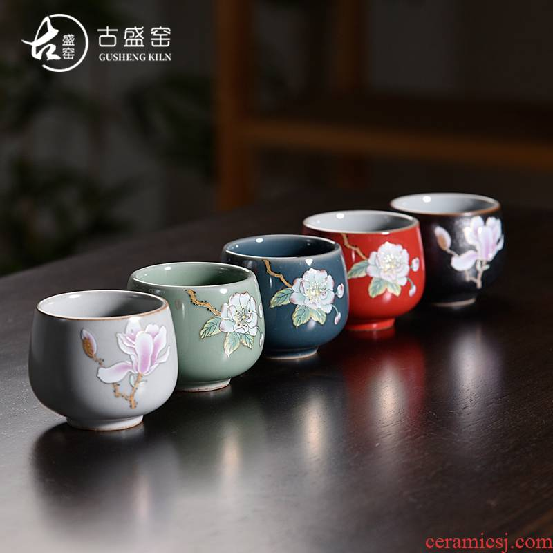 Ancient sheng up with colored enamel porcelain teacup household utensils sample tea cup manual single CPU master cup white jade porcelain tea bowl