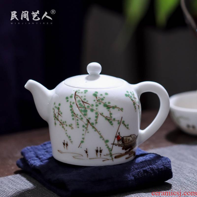 Under the glaze colorful township of hand - made of household ceramic teapot tea ware jingdezhen porcelain little teapot with handle kettle