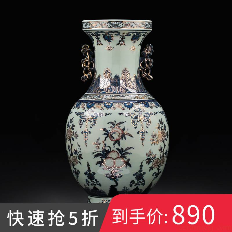 Jingdezhen ceramics hand - made the see colour blue and white porcelain vase imitation the qing qianlong Chinese key-2 luxury home decoration furnishing articles