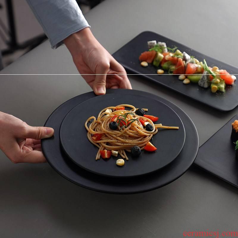 Matte enrolled cake ceramic disc flat black plate plate for western food dish rectangular dessert dish baking circle