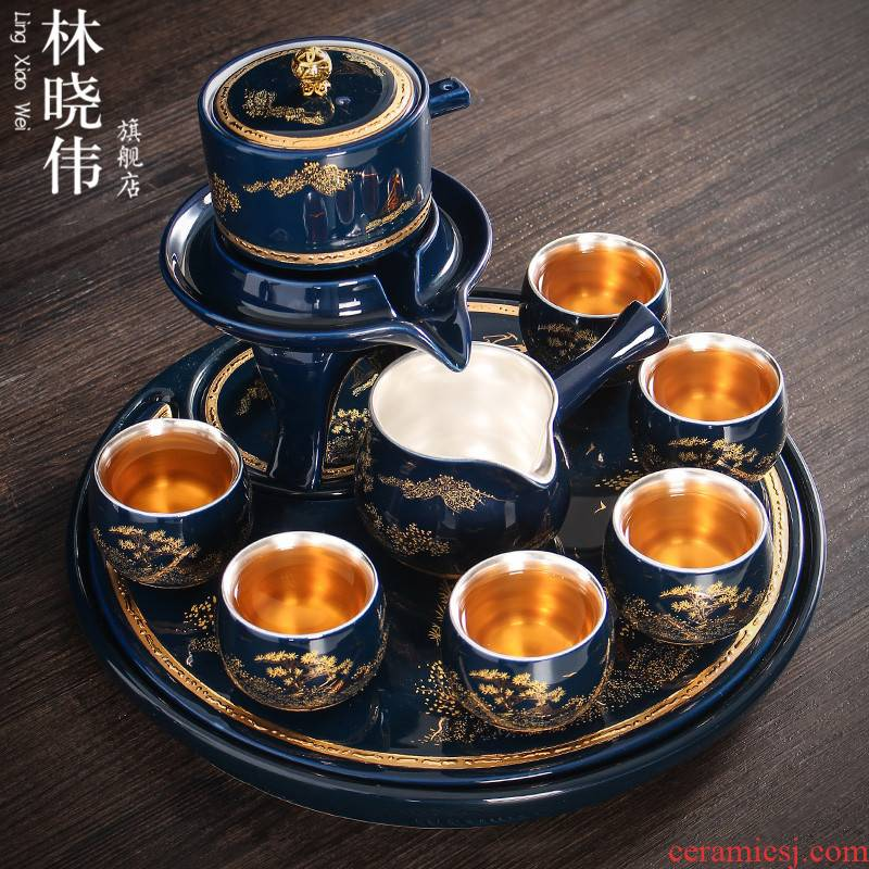 Tasted silver gilding semi - automatic office household ceramic tea set yourself see colour cup rotate the teapot a complete set of modern lazy people