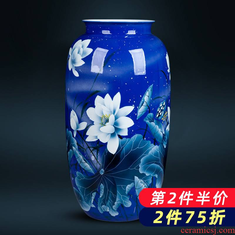Blue and white porcelain of jingdezhen ceramics hand - made big lucky bamboo vases, sitting room of Chinese style household decorations furnishing articles