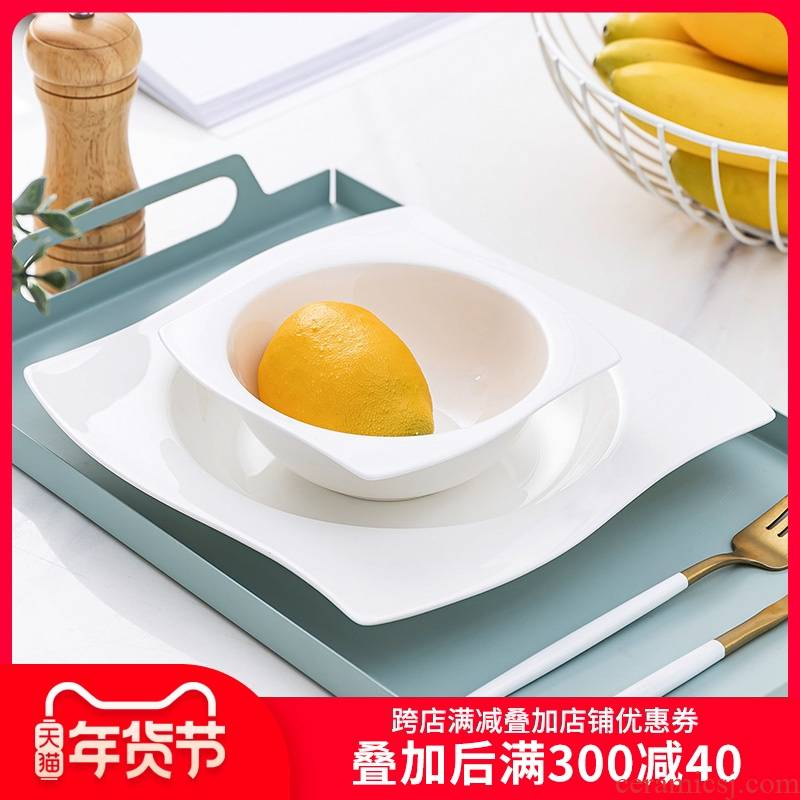 Hotel restaurants with pure white ipads porcelain tableware ceramics creative soup plate plate shaped food kunlun plate plate plate