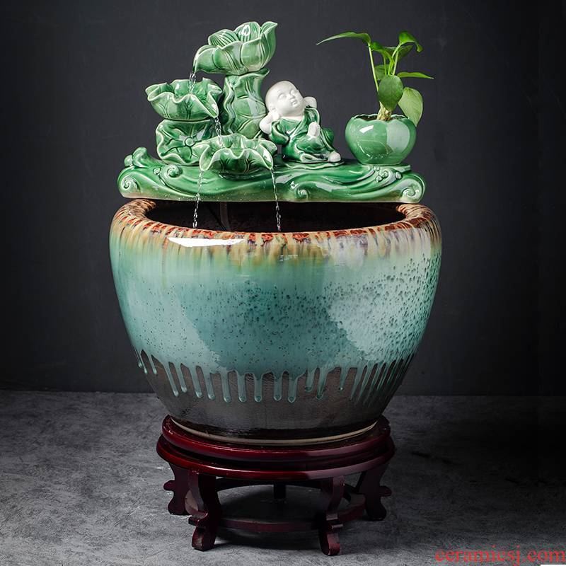 Automatic cycle ceramic water tank sitting room be born place large landscape creative household fish bowl