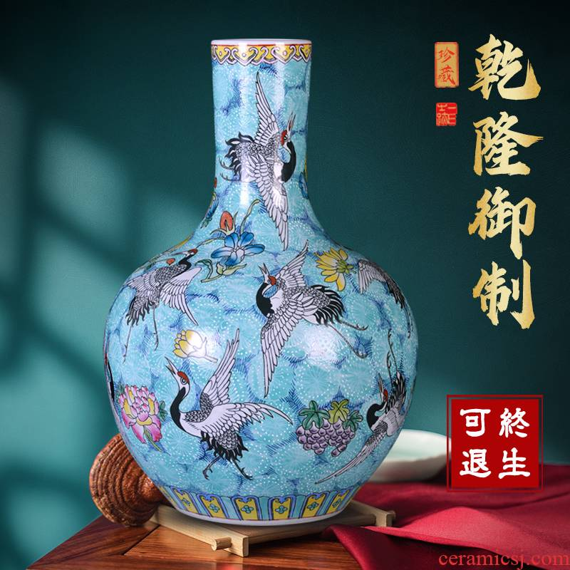 Jingdezhen ceramics vase famille rose porcelain of celestial flower arranging new Chinese style large sitting room desktop furnishing articles ornament