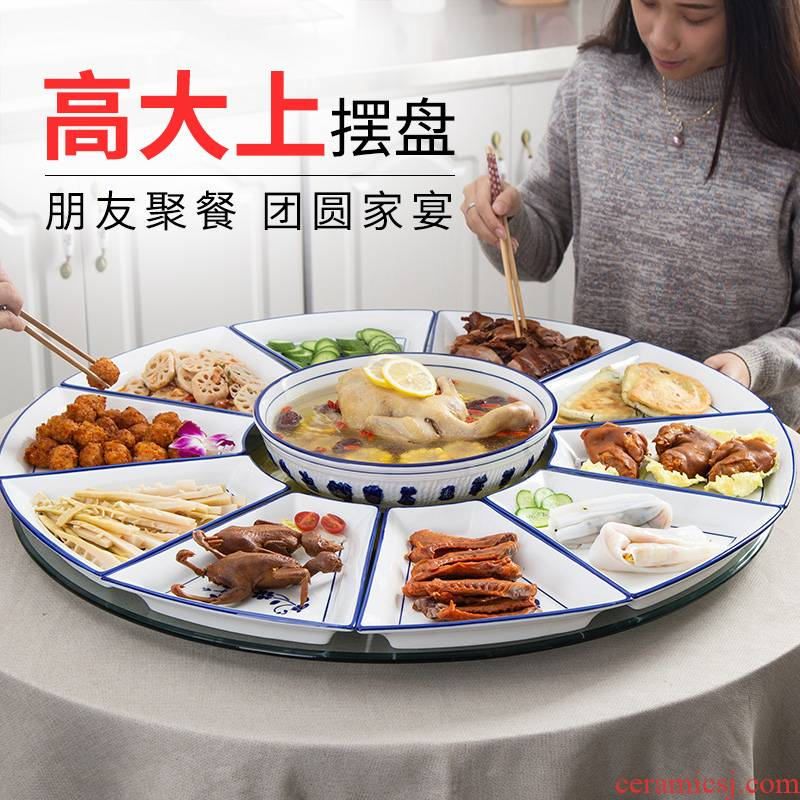 Web celebrity trill 0 suit round table reunion the ceramic tableware suit creative household platter tableware portfolio