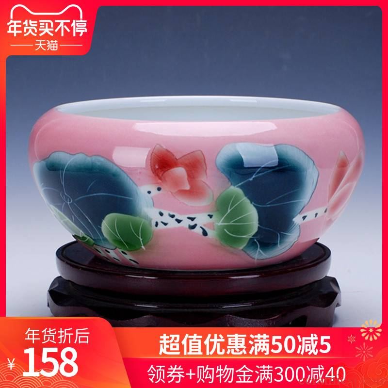 Little gold fish tank water lily basin bowl 168 jingdezhen ceramic lotus lotus tortoise cylinder aquarium writing brush washer from fish bowl