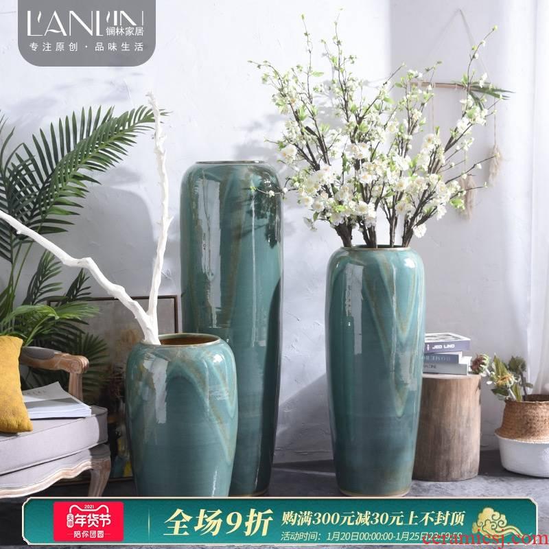 Ground vase Nordic jingdezhen ceramic furnishing articles large sitting room TV ark hotel villa decoration arranging flowers