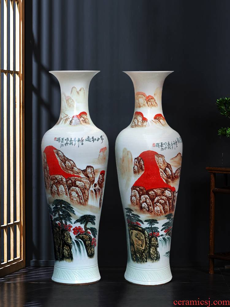 Jingdezhen ceramic hand - made China red luck of large vases, Chinese style furnishing articles the opened a large living room