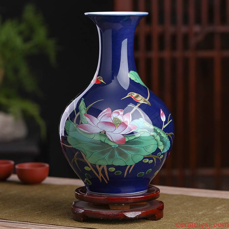 Jingdezhen ceramics floret bottle of flower arranging Chinese style household living room TV cabinet rich ancient frame crafts ornament