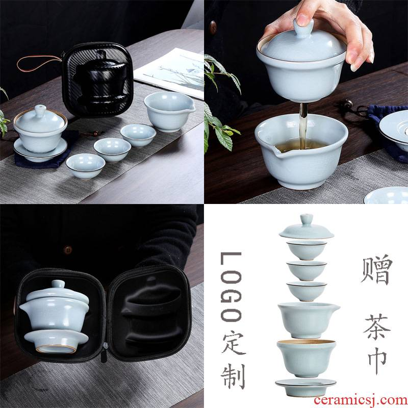 The kitchen travel kung fu tea set a pot of tea set suit portable ceramics three CPU can customize LOGO crack cup