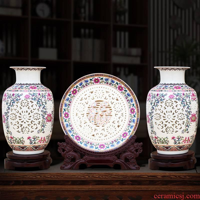 Chinese jingdezhen ceramics powder enamel hollow porcelain vase three - piece rich ancient frame furnishing articles home sitting room adornment