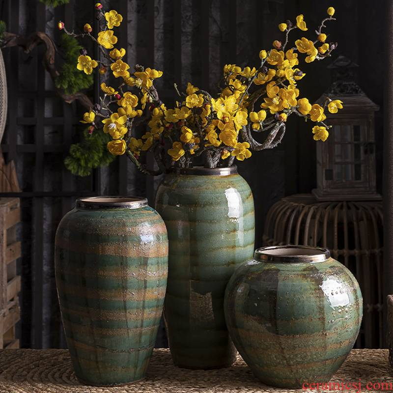 American retro vase furnishing articles sitting room dry flower arranging flowers, household act the role ofing is tasted table decoration ceramics green Chinese flowers