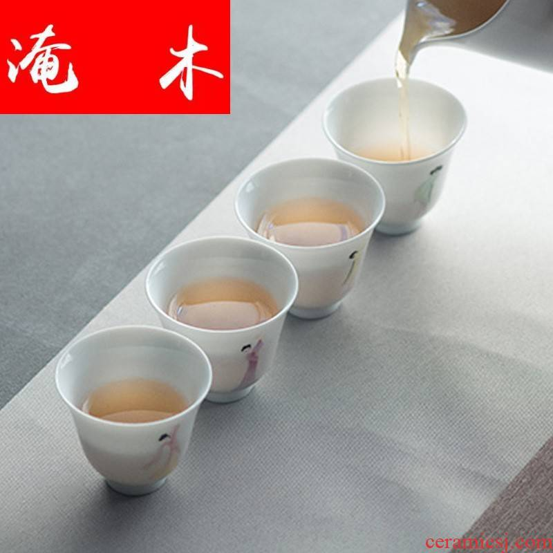 Submerged wood jingdezhen kung fu tea set hand - made pastel maid jade porcelain cups sample tea cup tea cup master CPU