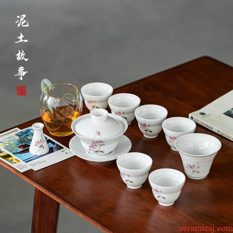 Jingdezhen pure hand - made tureen tea set suit portable household contracted the teapot tea cups of Japanese custom logo
