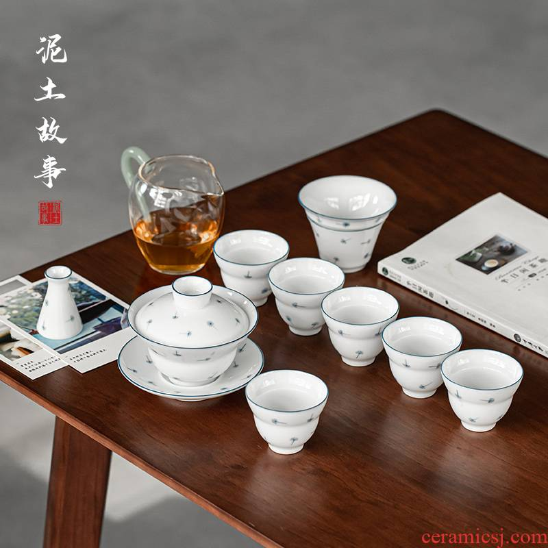 Dandelion jingdezhen ceramic gift box set household manual tea tray was contracted white porcelain cup lid to use kung fu tea set