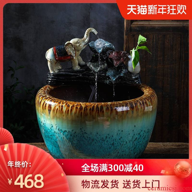 Ceramic aquariums large sitting room balcony ground loop water furnishing articles lotus garden is big fish bowl