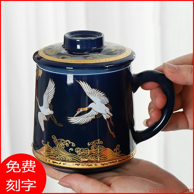 Chinese ceramic cups with cover glass filter tea cup male ms office high - grade glass large capacity