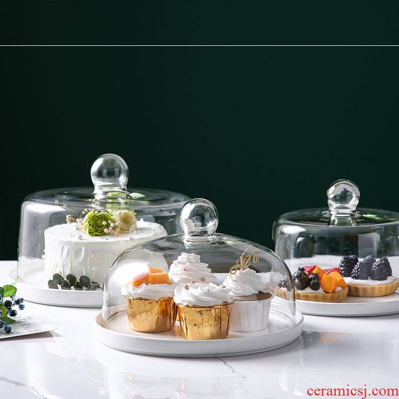 Dust cake tray was try ceramics dribbling lead - free glass lid fruits dessert fresh bread home cover