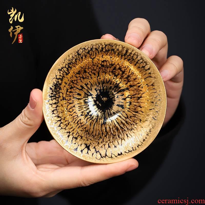 Zeng, Guangxu 24 k jinzhan building light sample tea cup full manual temmoku up ceramic cups large master cup of tea