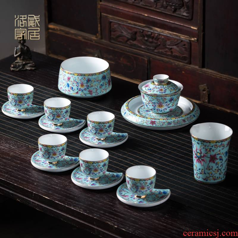 Blower, kung fu tea set suit high - end home sitting room of jingdezhen ceramics colored enamel tea tureen of a complete set of cups
