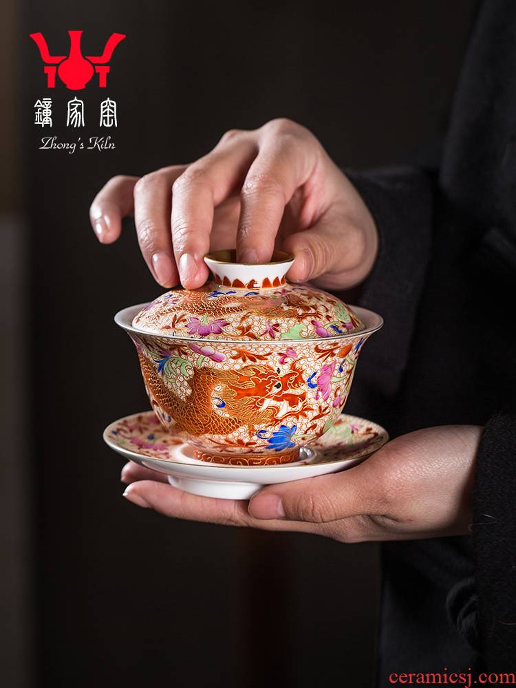 Clock at jingdezhen up tureen single wire inlay enamel see colour longfeng grain size three tureen tea bowl cups