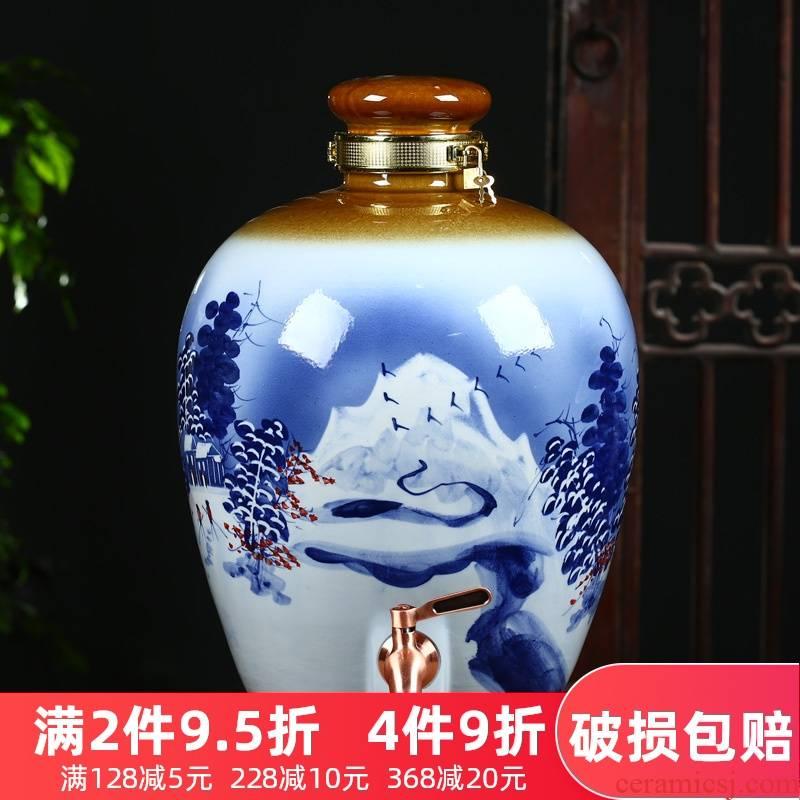 An empty bottle of hand - made ceramic jar of jingdezhen ceramic 10 jins 20 jins household hip belt leading 50 pounds